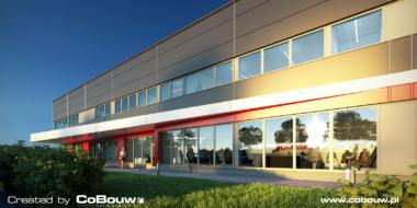 wizualizacja Intap, zbliżenie na budynek socjalno-biurowy-obiekt produkcyjno-magazynowy z budynkiem biurowym, zrealizowany przez CoBouw Polska, dla firmy Intap, z branży samochodowej, woj. łódzkie