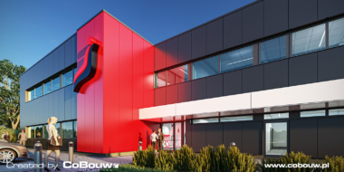 zbliżenie na część biurową, wizualizacja - budowa hali produkcyjno-magazynowej z budynkiem biurowym, przez CoBouw Polska, w Bukowcu pod Łodzią