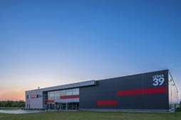 widok ogólny inwestycji - hala produkcyjno-magazynowa z budynkiem socjalno-biurowym, dla firmy Vito Polska, Międzyrzec Podlaski, woj. lubelskie