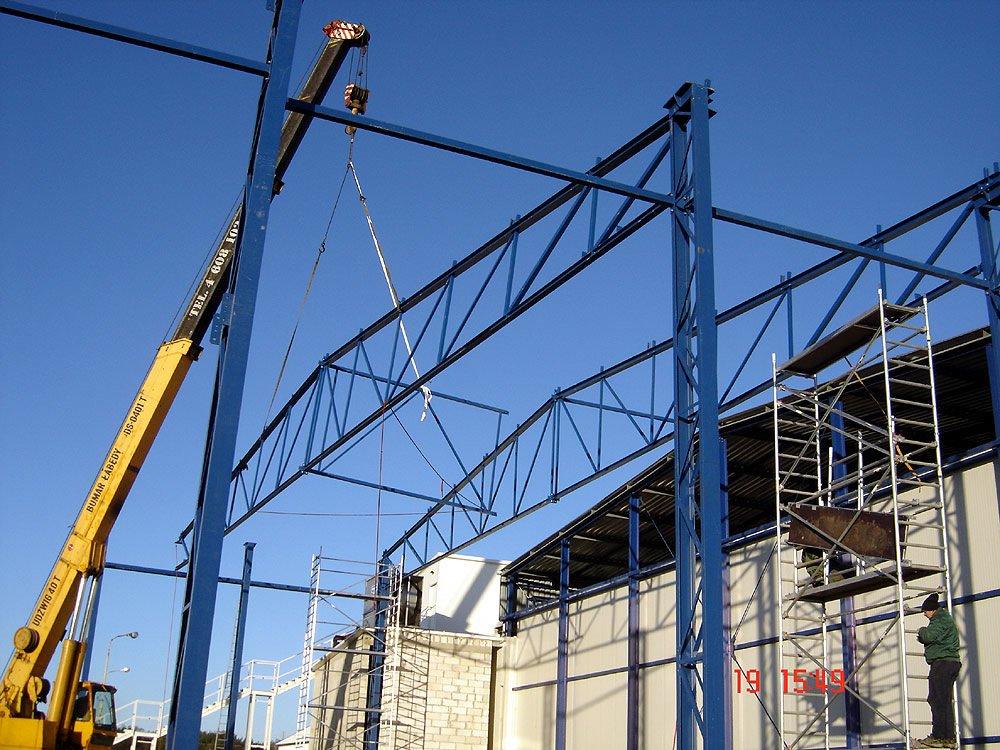 wznoszenie konstrukcji hali - mroźnia, dla Futrex, Żdżary, woj. zachodniopomorskie